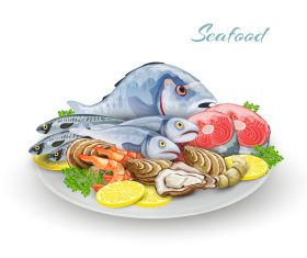 Restaurant seafood vector illustration material