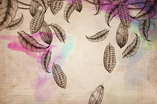 Retro chocolate beans background vectors