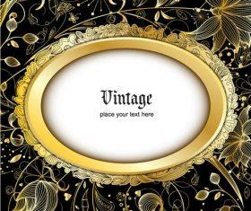 Retro luxury background with golden decorative vector 02