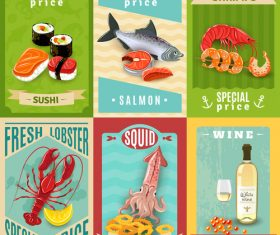 Retro seafood menu template vectors