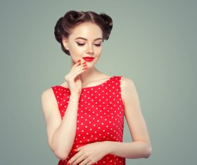 Retro styling beautiful girl Stock Photo 01