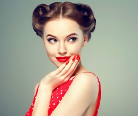Retro styling beautiful girl Stock Photo 03