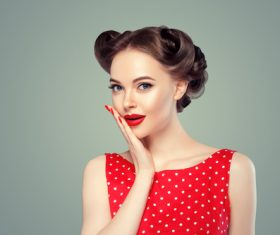 Retro styling beautiful girl Stock Photo 04