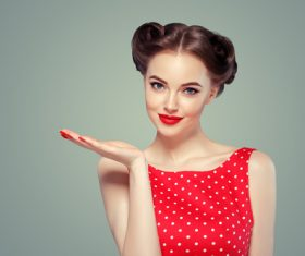 Retro styling beautiful girl Stock Photo 05