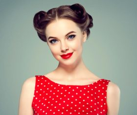 Retro styling beautiful girl Stock Photo 06