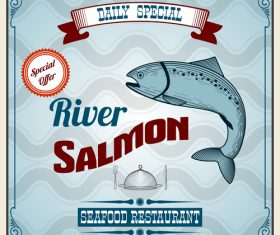 River salmon special offer poster vector