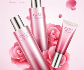 Rose white cream cosmetic advertising poster template vector 02