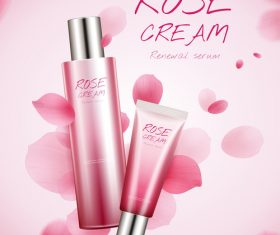 Rose white cream cosmetic advertising poster template vector 03