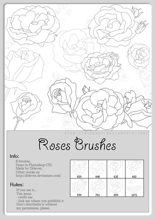Roses Outlines Photoshop Brushes Set free download