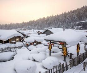 Rural snow scene Stock Photo 02