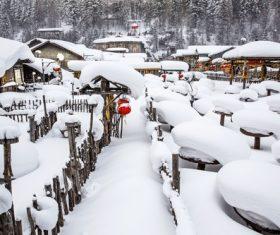 Rural snow scene Stock Photo 03