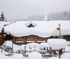 Rural snow scene Stock Photo 06