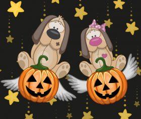 Sad dog and halloween card vector