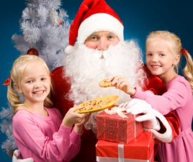 Santa Claus and cute children Stock Photo 01