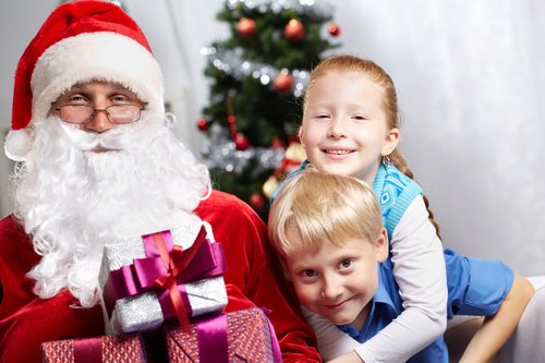 Santa Claus and cute children Stock Photo 02