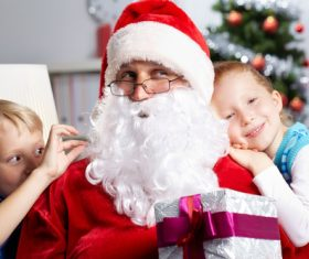 Santa Claus and cute children Stock Photo 03