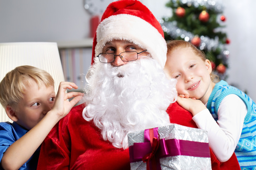 Santa Claus and cute children Stock Photo 03