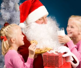 Santa Claus and cute children Stock Photo 05