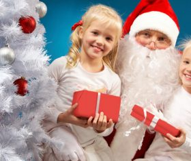 Santa Claus and cute children Stock Photo 06