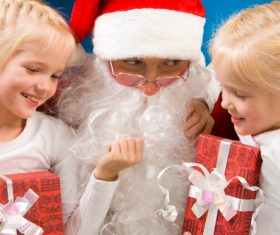 Santa Claus and cute children Stock Photo 07