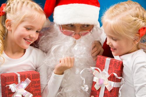 Santa Claus and cute children Stock Photo 07