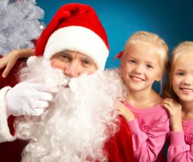 Santa Claus and cute children Stock Photo 08