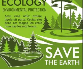 Save the earth poster template vector