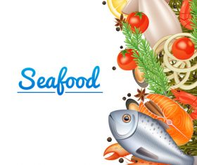 Seafood background design vector 01