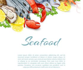 Seafood background design vector 03