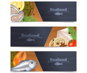 Seafood banners template vectors