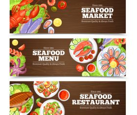 Seafood menu banners template vectors
