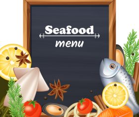 Seafood menu template with blackboard vector