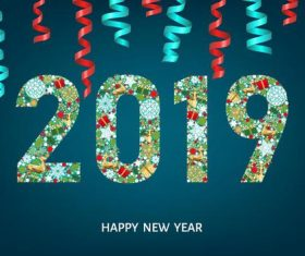 Serpentine ribbons with 2019 new year background vector