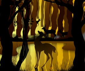 Silhouette forest with deer reflection illustration vector