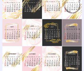 Simple 2019 calendar template vectors 01