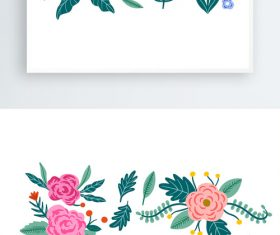 Small fresh floral lace ornament material pattern vector