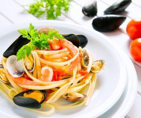 Spaghetti with clams Stock Photo 01