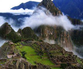Spectacular scenery of Machu Picchu Inca ruins Peru Stock Photo 01