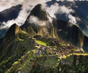 Spectacular scenery of Machu Picchu Inca ruins Peru Stock Photo 02
