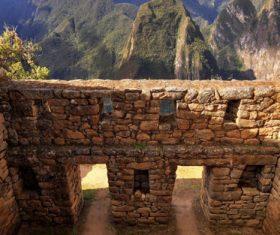 Spectacular scenery of Machu Picchu Inca ruins Peru Stock Photo 04