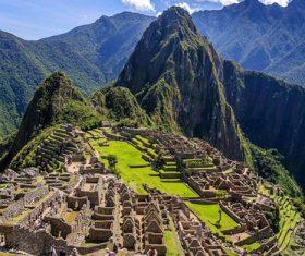 Spectacular scenery of Machu Picchu Inca ruins Peru Stock Photo 06