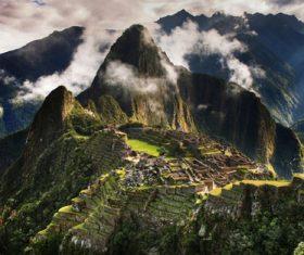 Spectacular scenery of Machu Picchu Inca ruins Peru Stock Photo 08