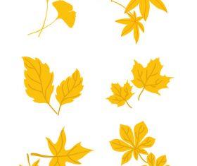 Stick pictures vector elements of autumn leaves set illustration design