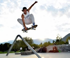 Stock Photo Awesome skateboard movement 05