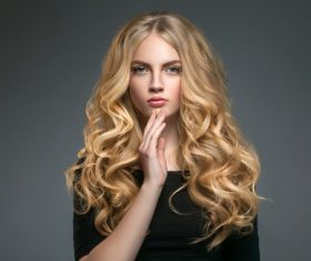 Stock Photo Beautiful girl with blond curly long hair 02