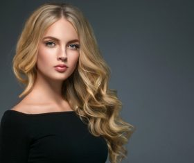 Stock Photo Beautiful girl with blond curly long hair 03