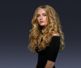 Stock Photo Beautiful girl with blond curly long hair 04