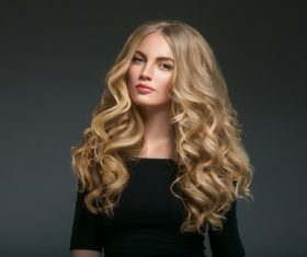 Stock Photo Beautiful girl with blond curly long hair 06