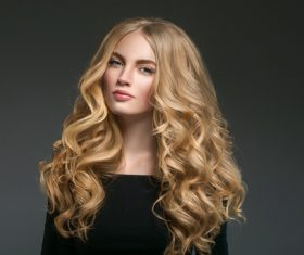 Stock Photo Beautiful girl with blond curly long hair 07