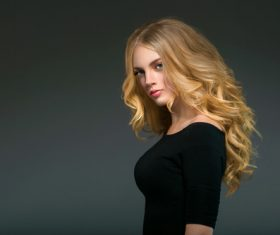 Stock Photo Beautiful girl with blond curly long hair 08